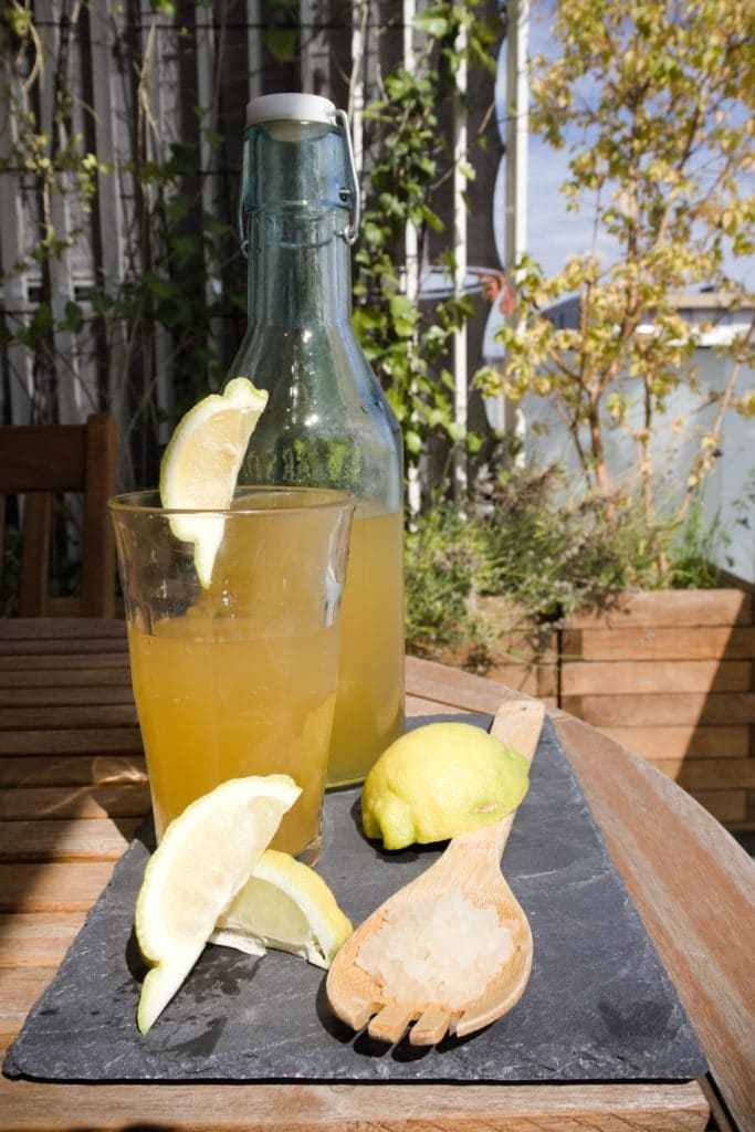 photo de la boisson de kéfir de fruits, on peut y voir les grains, du citron et la boisson versée dans un verre