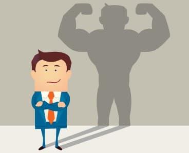dessin graphique représentant une personne, son ombre représente la confiance qu'il a en lui. On peut voir une ombre grande et musclé
