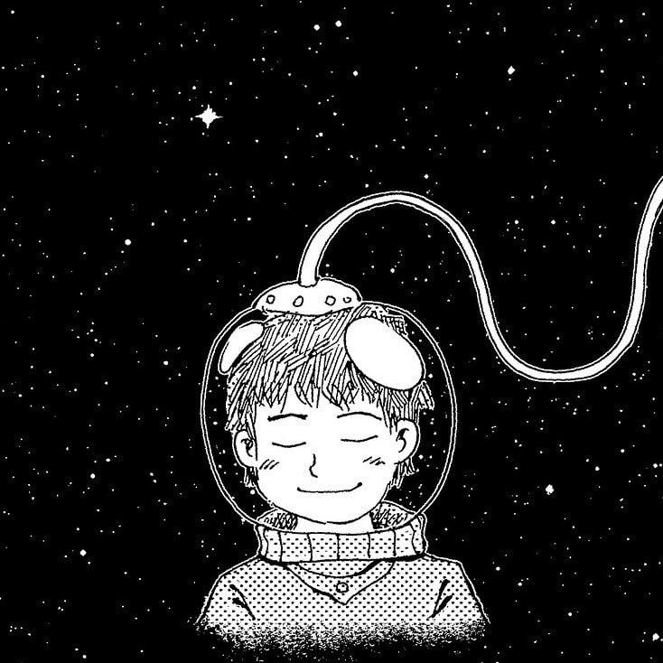 Dessin d'un personnage dans la lune.